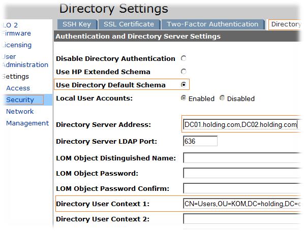 HP iLO2 - Настраиваем доменную авторизацию - Блог IT-KB