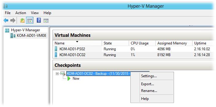 hyper v manager не удаляется контрольная точка backup после  image