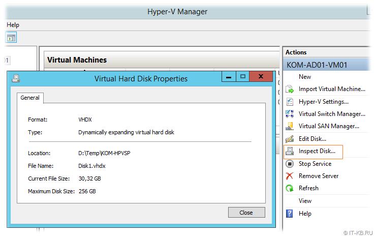 Hyper-V Manager Inspect Disk