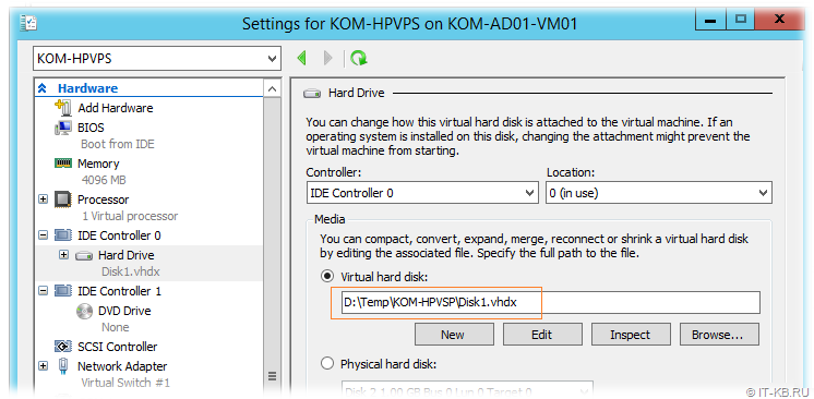 Hyper-V Manager attach disk to VM