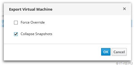 oVirt VM Export to Export Domain settings