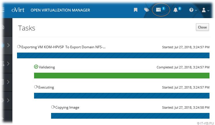 oVirt VM Export to Export Domain status