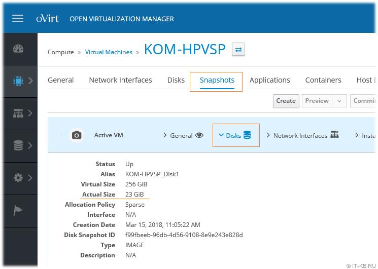 oVirt web-console VM Snapshots