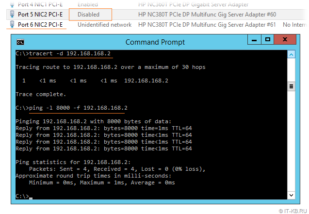 Windows Server iSCSI testing via ping