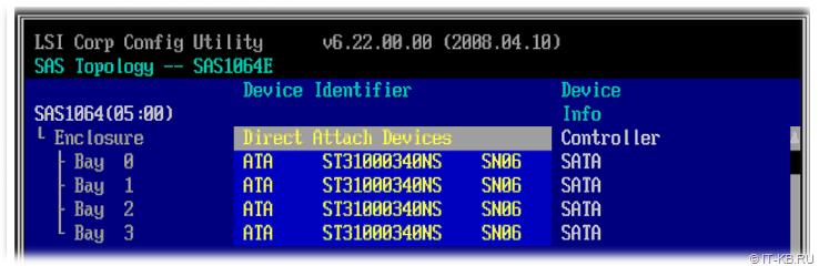 LSI Logic SAS1064ET controller device configuration