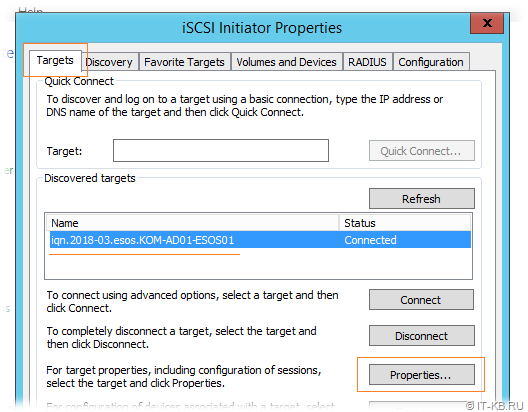 Windows Server iSCSI Initiator - Target properties