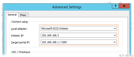 Windows Server iSCSI Initiator Discovery Target