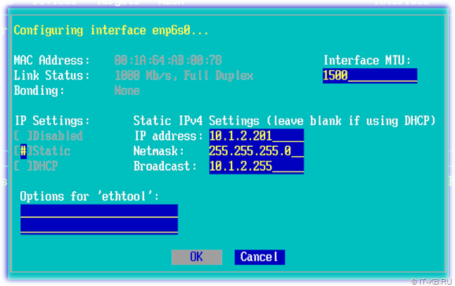 ESOS Network Interface configuration