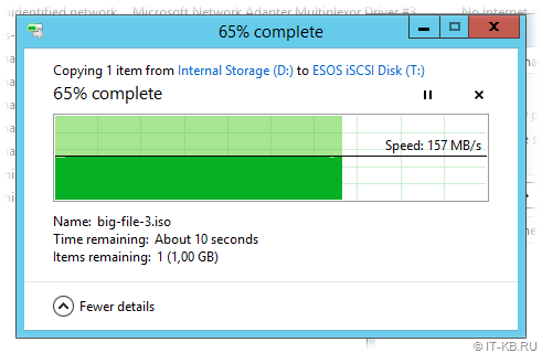 Windows Server iSCSI perfomance testing by Explorer