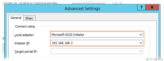 Windows Server iSCSI Initiator Discovery