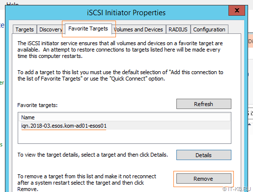 Windows Server iSCSI Initiator - Remove Target