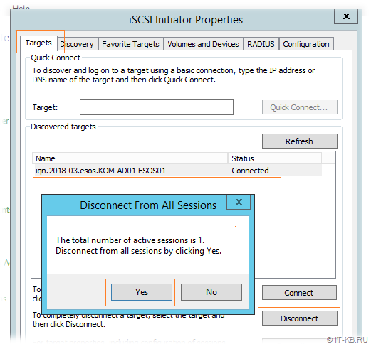 Windows Server iSCSI Initiator - Disconnect Target