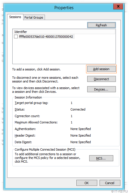Windows Server iSCSI Initiator - Target sessions
