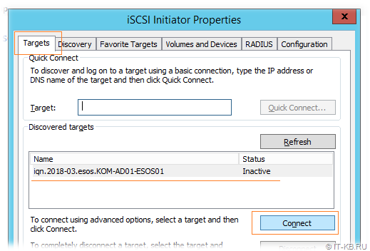 Windows Server iSCSI Initiator Discovery Targets