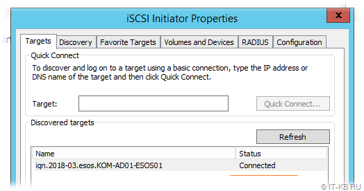 Windows Server iSCSI Initiator connected to Target