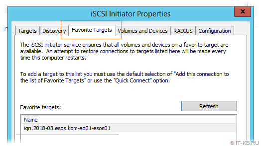 Windows Server iSCSI Initiator - Favorite Targets