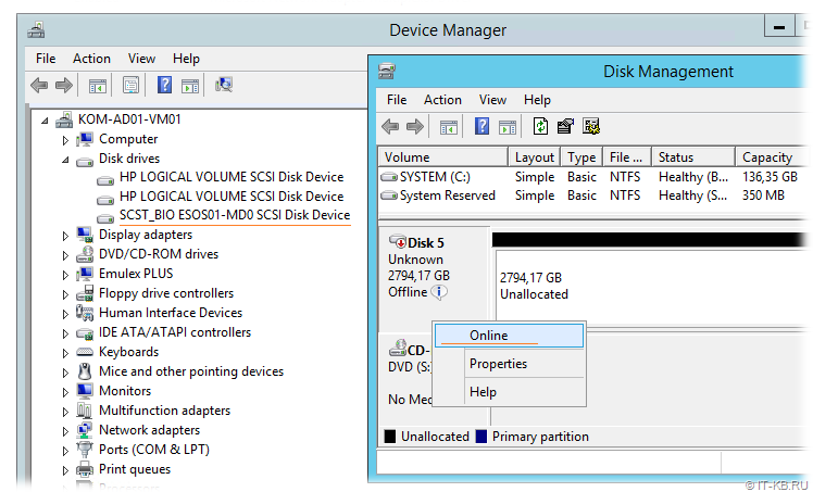 Windows Server iSCSI - Device Manager