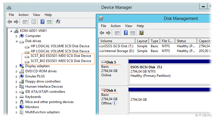 Windows Server iSCSI Initiator - multi-path disk