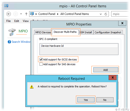 Windows Server - Enable MPIO for iSCSI