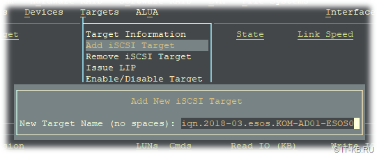 ESOS Targets - Add iSCSI Target