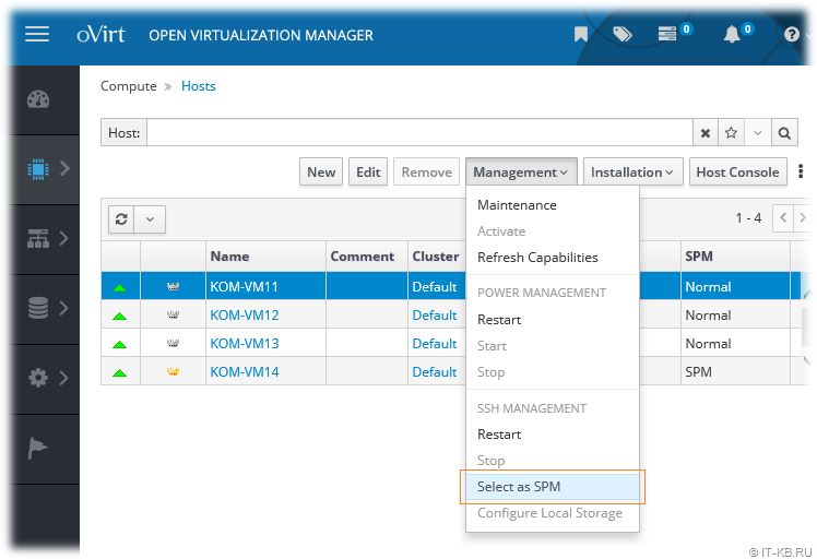 oVirt 4.2.5 Failed to force select host as the SPM