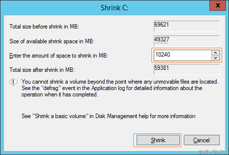 Disk Management Shrink Volume - Select size