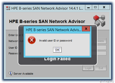 HPE B-series SAN Network Advisor Invalid user ID or password
