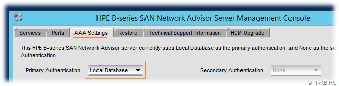 HPE B-series SAN Network Advisor Server Management Console AAA