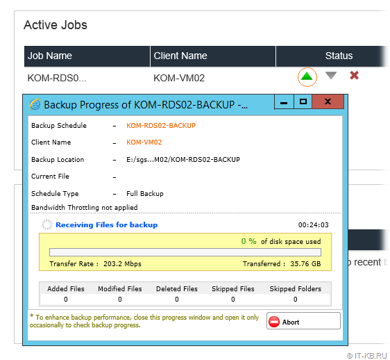 Vembu BDR Hyper-V Server Backup Job Status