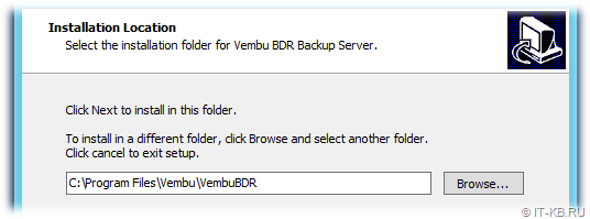 Vembu BDR Backup Server Installation Location