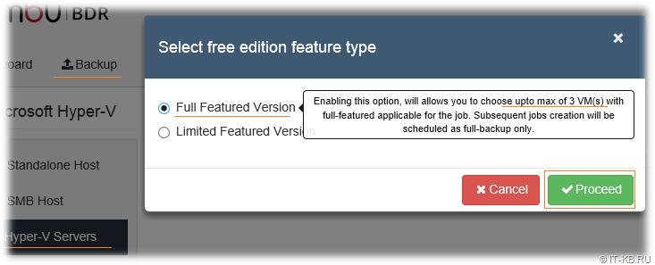 Vembu BDR Free Edition Limitations 3VMs