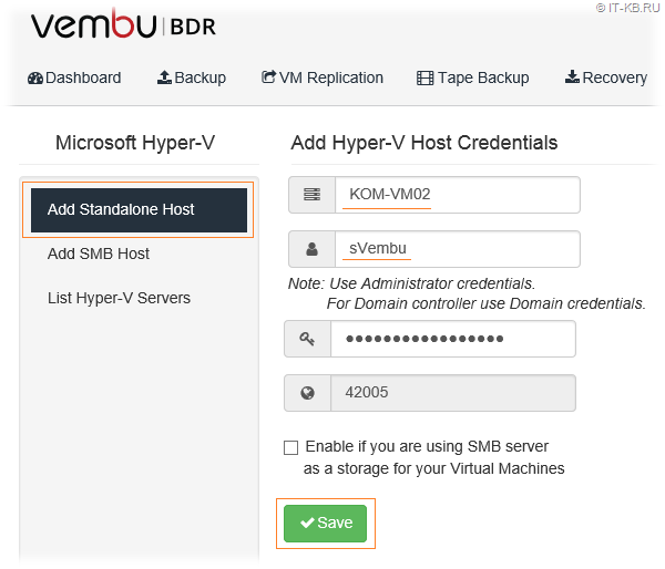 Vembu BDR Add Hyper-V Server Credentials