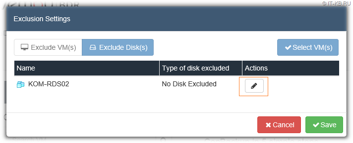 Vembu BDR Hyper-V Server Backup Job VM Disks Exclusion