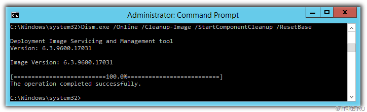 Dism Online Cleanup-Image Start Component Cleanup ResetBase