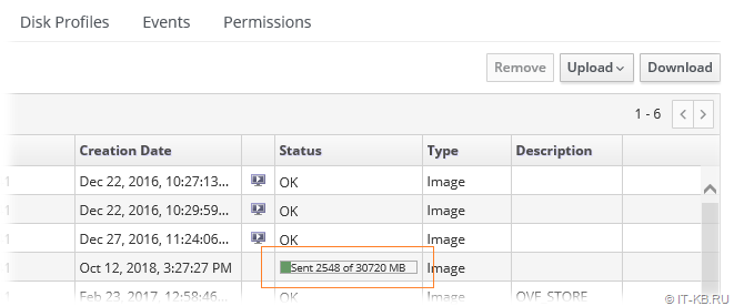 oVirt Administration Portal Storage Domain Upload Disk Status