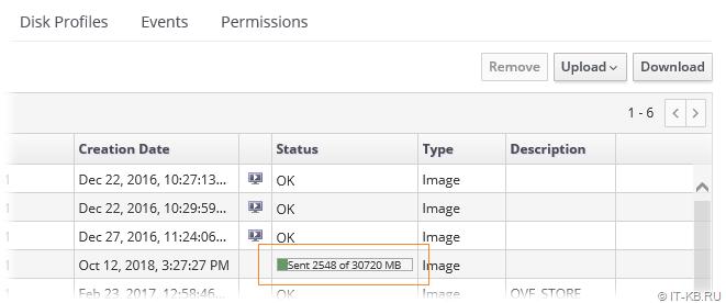 oVirt Administration Portal Storage Domain Upload Disk Status