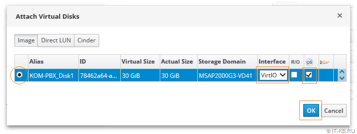 oVirt Administration Portal VM Settings Attach Disk from Storage Domain