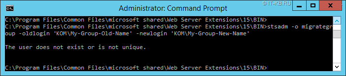 SharePoint stsadm migrategroup