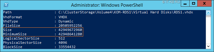 Get-VHD VHDX disk Size and MinimumSize on Basic disk