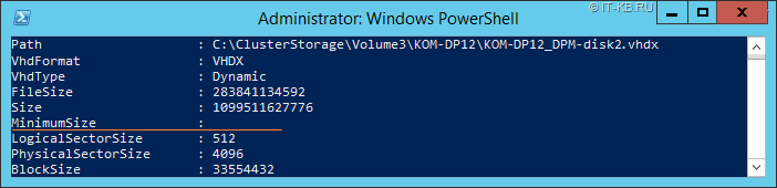 Get-VHD VHDX disk Size and MinimumSize on Dynamic disk