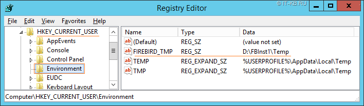Set Firebird SQL DB Temporary files location via FIREBIRD_TMP env var