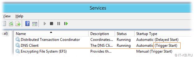 DNS Client DnsCache service Triggered Start