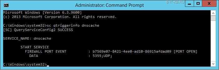 DNS Client DnsCache service Trigger Info