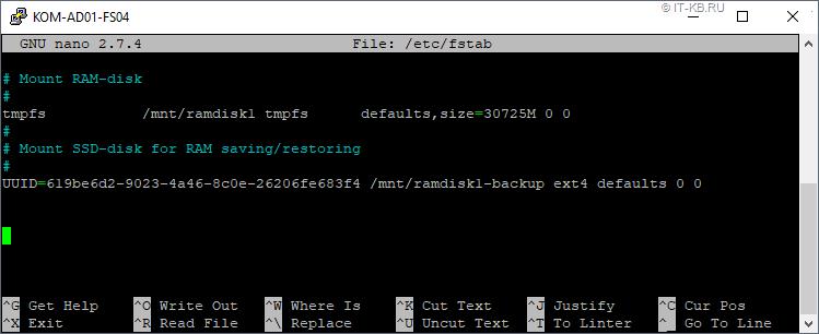 RAMDisk mount in fstab in Linux