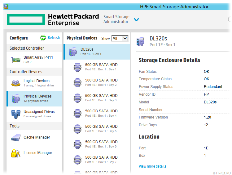 HP ProLiant DL320s G1 as external storage in SSA Tool