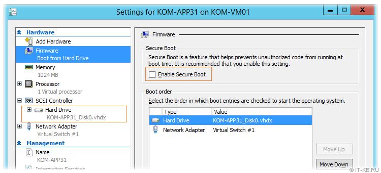 Hyper-V VM settings - Disable Secure Boot