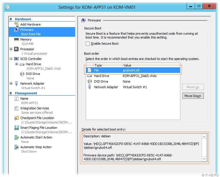 Hyper-V VM Settings EFI boot file for Linux