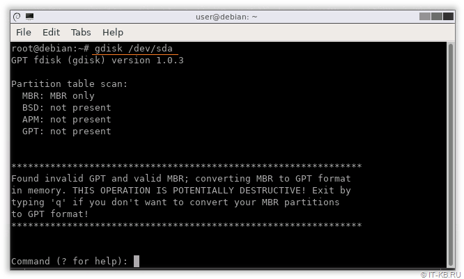 gdisk MBR table