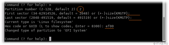 gdisk add EFI partition