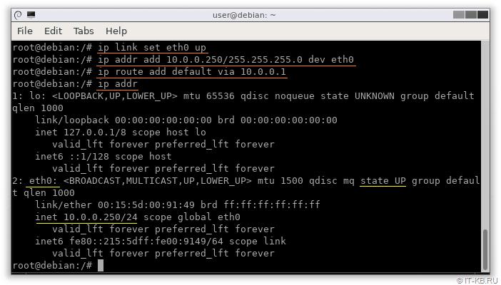 Linux Debian set static IP address